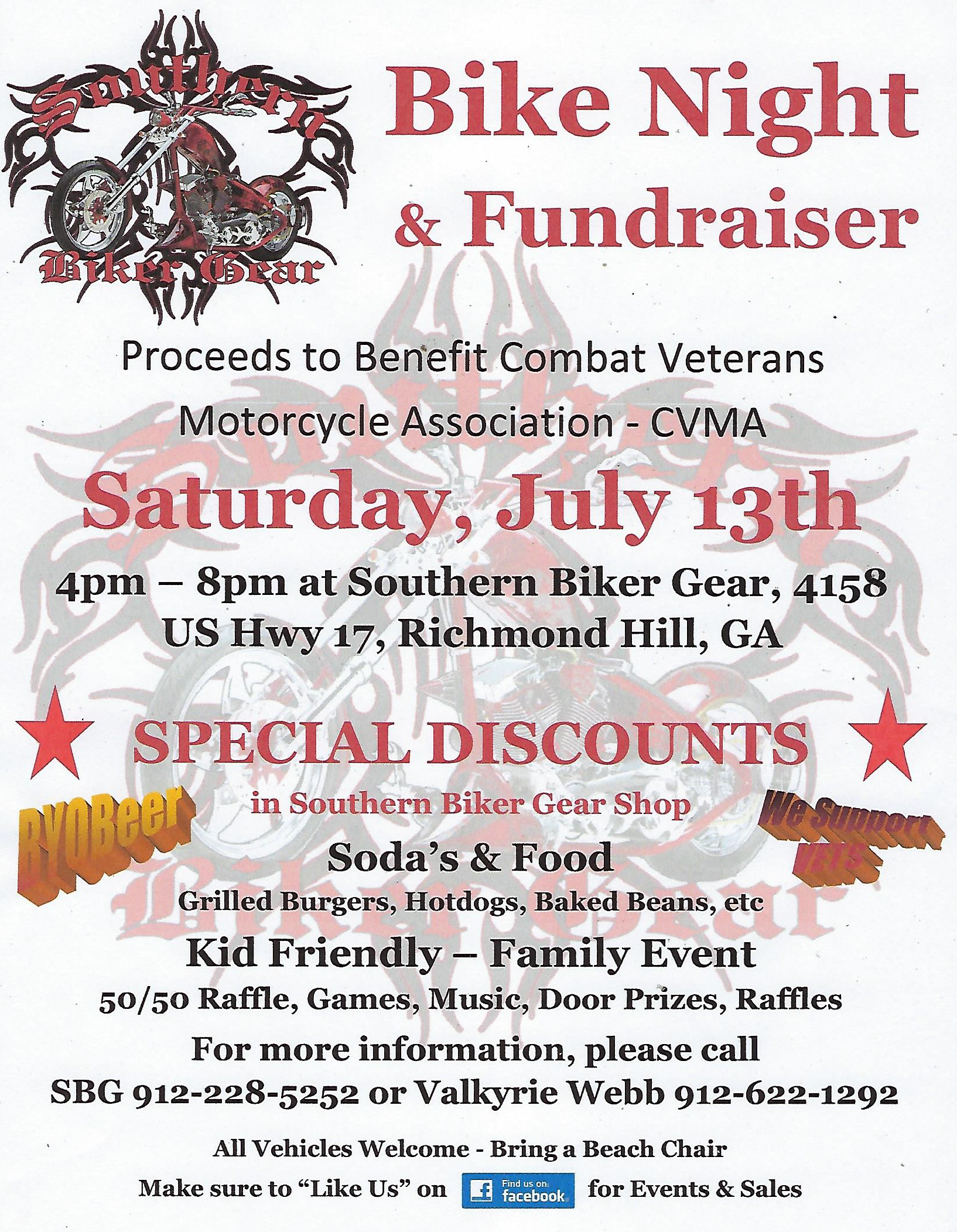 Southern Biker Gear Bike Night & Fundraiser @ Southern Biker Gear | Richmond Hill | Georgia | United States