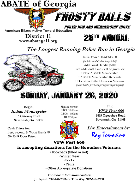 ABATE of Georgia, District 11 28th Annual Frosty Balls Poker Run and Membership Drive @ Indian Motorcycles of Savannah | Savannah | Georgia | United States
