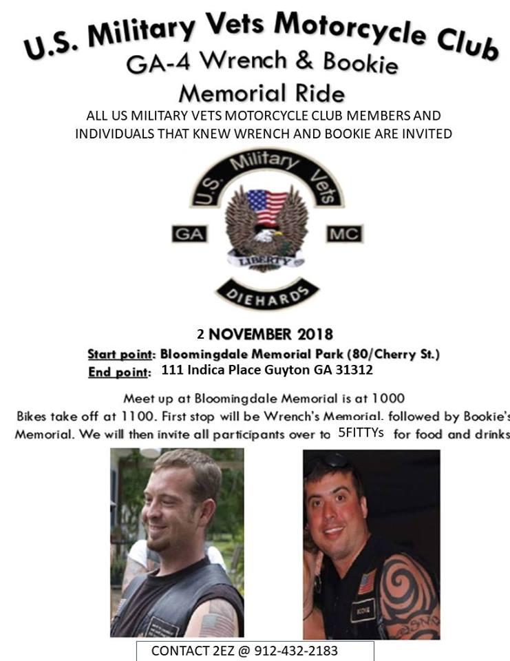 USMVMC GA-4 - Wrench/Bookie Memorial Ride @ Bloomingdale Memorial Park   Bloomingdale   Georgia   United States