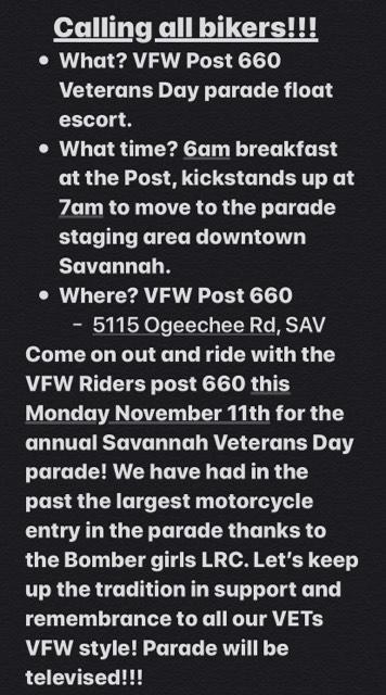 VFW Post 660 - Veteran's Day Parade Float Motorcycle Escort @ VFW Post 660   Savannah   Georgia   United States